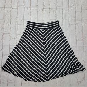 Ann Taylor Loft Striped Pull-On A-Line Skirt